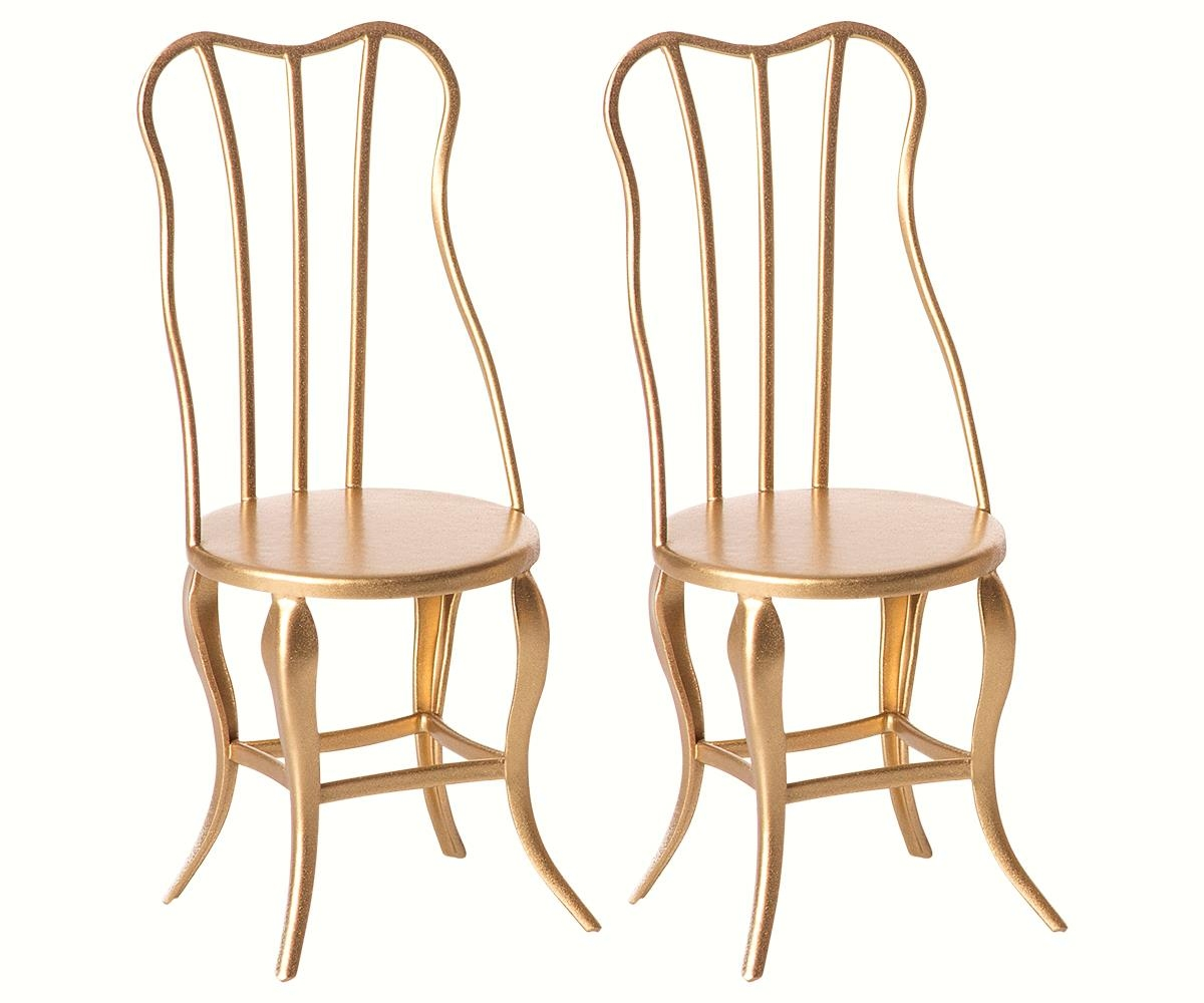 2 Luxe Stoelen.Lidor Vintage Chair Micro Gold 2 Pack