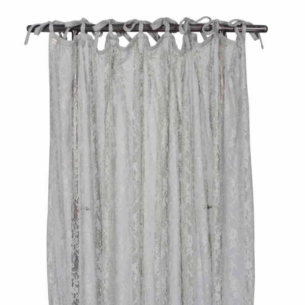 gordijn gathered lace flower silver grey van numero 74