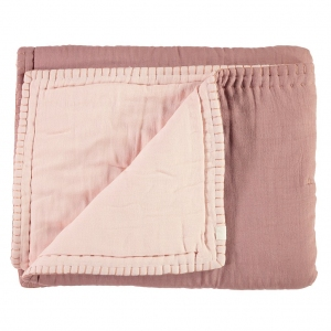 Cotton Filled Reversible Quilt Blush And Pink van Camomile London