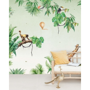 Monkey Jungle Wallpaper Mural van Creative Lab Amsterdam
