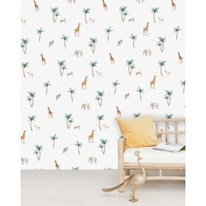 Savannah Palm Tree Wallpaper Mural van Creative Lab Amsterdam