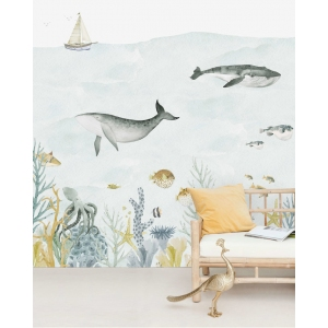 Sea Life Blue Mural van Creative Lab Amsterdam