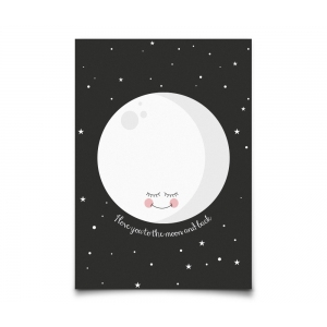 Postcard I Love You To The Moon And Back Black van Eef Lillemor