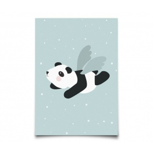Postcard Flying Panda Mint van Eef Lillemor