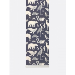 Katie Scott Animal Wallpaper Blue  van Ferm Living