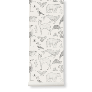 Katie Scott Animal Wallpaper Off-White van Ferm Living