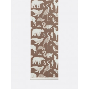 Katie Scott Animal Wallpaper Toffee  van Ferm Living