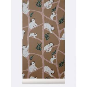 Koala Wallpaper Mustard van Ferm Living