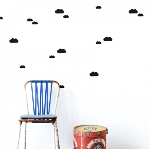 Mini Clouds Muurstickers - Zwart van Ferm Living