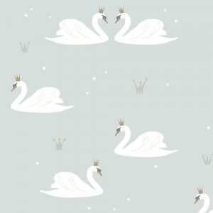 Swan Wallpaper Mint van Hibou Home