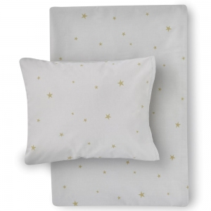 Starry Sky Organic Cotton Bed Linen Grey/Gold van Hibou Home