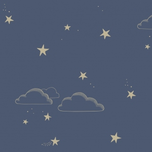Starry Sky Wallpaper Indigo Gold  van Hibou Home