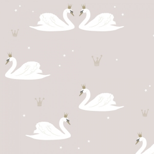 Swans Wallpaper Pale Rose van Hibou Home