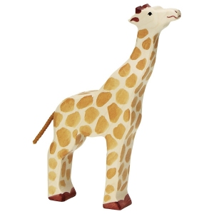 Giraffe head raised van Holztiger