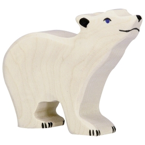 Polar Bear Small Head Raised van Holztiger