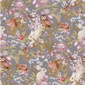 Woodland Wallpaper Dark Lavender van Jimmy Cricket