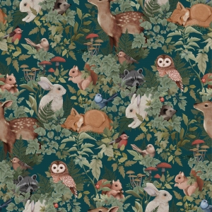 Woodland Wallpaper Deep Teal  van Jimmy Cricket