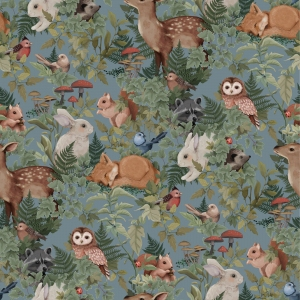 Woodland Wallpaper Dusty Blue van Jimmy Cricket
