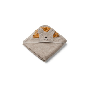 Albert Hooded Towel Lion Stone Beige van Liewood