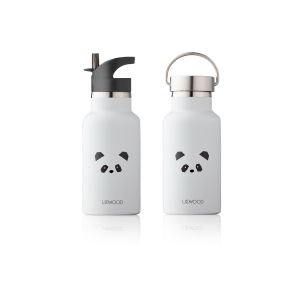 Anker Water Bottle Panda Light Grey van Liewood