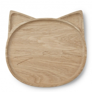 Conrad Wood Plate Cat Natural  van Liewood