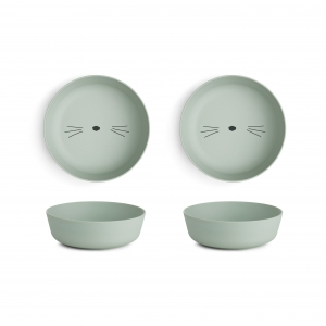 Roberta Bowl 2pack Cat Dusty Mint van Liewood