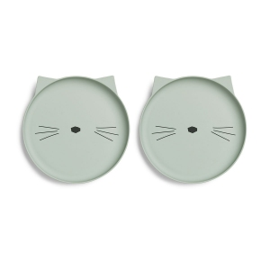 Villum Plate 2pack Cat Dusty Mint van Liewood