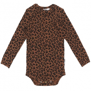 Brown Leopard Romper van Maed For Mini
