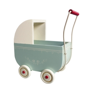 Large Pram Light Blue With Bedlinen van Maileg