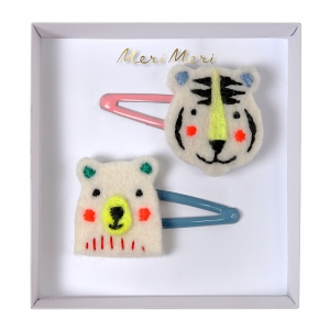 Bear & Tiger Hair Clips van Meri Meri