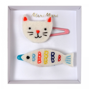 Cat & Fish Hair Clips van Meri Meri