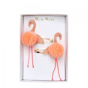 Flamingo Pompom Hair Clips van Meri Meri