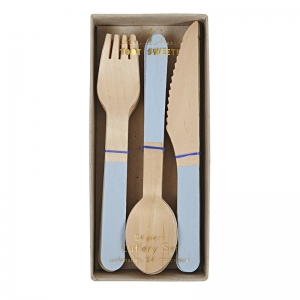 Wooden Cutlery Set Blue van Meri Meri
