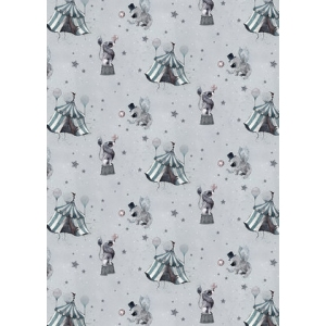 Circus Mighetto Blue Grey Wallpaper van Mrs. Mighetto