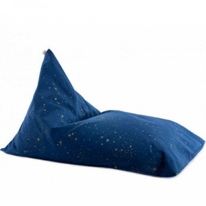 Poef Xl Essaouira Gold Stella Night Blue van Nobodinoz