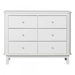 Commode Wood Dresser 6 Drawers White  van Oliver Furniture