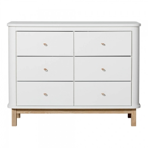 Commode Wood Dresser 6 Drawers White-Oak van Oliver Furniture