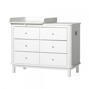 Commode Wood Nursery Dresser 6 Drawers Met Small Top White van Oliver Furniture