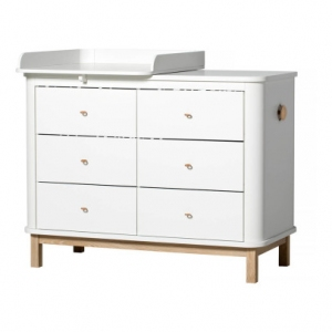 Commode Wood Nursery Dresser 6 Drawers Met Small Top White-Oak van Oliver Furniture
