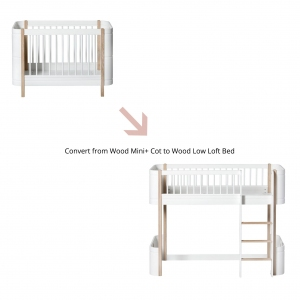 Conversiekit Mini+ Ledikant Naar Mini+ Low Loft Bed White/Oak van Oliver Furniture