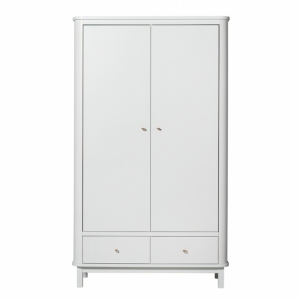 Kledingkast Wood Wardrobe 2 Doors White van Oliver Furniture
