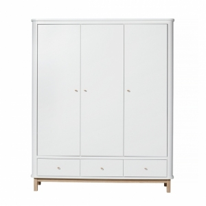 Kledingkast Wood Wardrobe 3 Doors White-Oak van Oliver Furniture