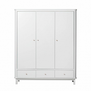 Kledingkast Wood Wardrobe 3 Doors White van Oliver Furniture