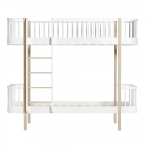 Wood Bunk Bed Ladder/Front 90X200 White-Oak van Oliver Furniture