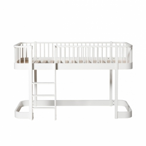 Wood Low Loft Bed White 90X200Cm van Oliver Furniture