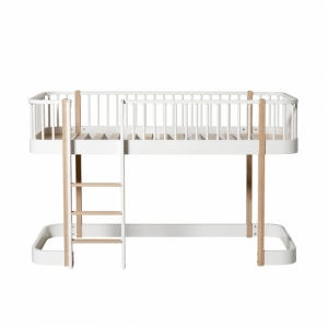 Wood Low Loft Bed White/Oak 90X200Cm van Oliver Furniture