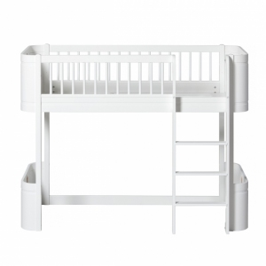 Wood Mini+ Low Loft Bed White 68X168Cm van Oliver Furniture