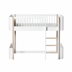 Wood Mini+ Low Loft Bed White/Oak 68X168Cm van Oliver Furniture