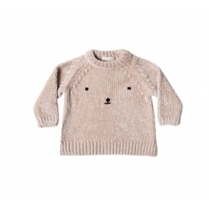 Bear Face Chenille Sweater van Rylee & Cru