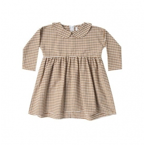 Gingham Collared Dress Saddle Ivory van Rylee & Cru
